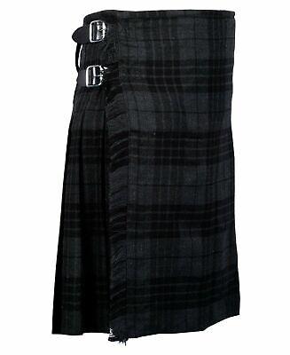 Made of 13oz Fabric Kilt. Men/'s Scottish Grey Tartan 100/% Five Yard Fabric Kilt