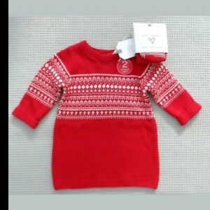 BNWTS-NEXT-Baby-Girls-Red-Nordic-Fairilse-Knitted-Dress-amp-Tights-Newborn-10lbs
