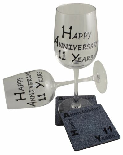 11th Wedding Anniversary Wine Glass and Coaster Gift Set BlkSil