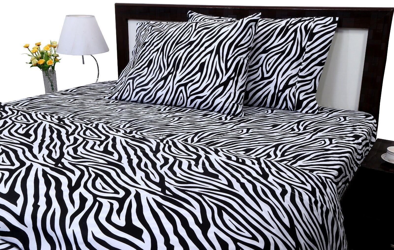 Luxury Bedding Set All Size And Zebra Print 600 TC Pure Cotton 15  Deep