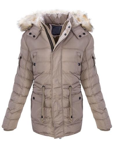 Da Uomo Trapuntato Giacca Invernale Parka Cappotto Giacche Outdoor Caldo Pelo Sintetico h-164 NUOVO