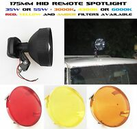 Hid 35w Or 55w 175mm Spotlight Remote Roof Mount Adjustable Focus 3000k To 6000k