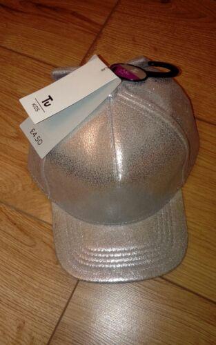 Le ragazze TU Argento Scintillante Cappellini con fiocco età 3-5 anni 52cm-NUOVO