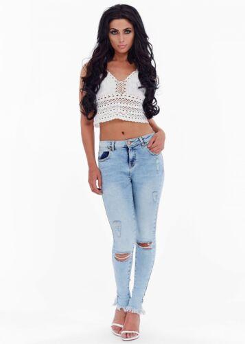 UK Womens Light Blue Distressed Jeans Glam Ladies Fashion Size 6-14