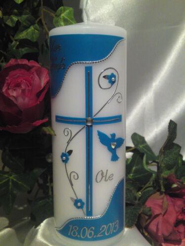 Taufkerze 200//70mm Rosa//Silber Blau//Silber Weinrot//Gold sehr Edel T007