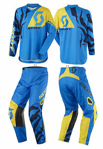 TUTA-MAGLIA-PANTALONI-CROSS-ENDURO-SCOTT-350-RACE-BLU-GIALLO-YELLOW-32-48-M