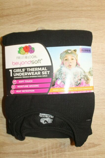 NEW Fruit of the Loom black thermal warm long underwear set girls XXL 18
