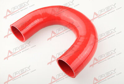 "2.5"" 3 Ply 180 Degree Turbo Silicone Coupler Hose Pipe RED"