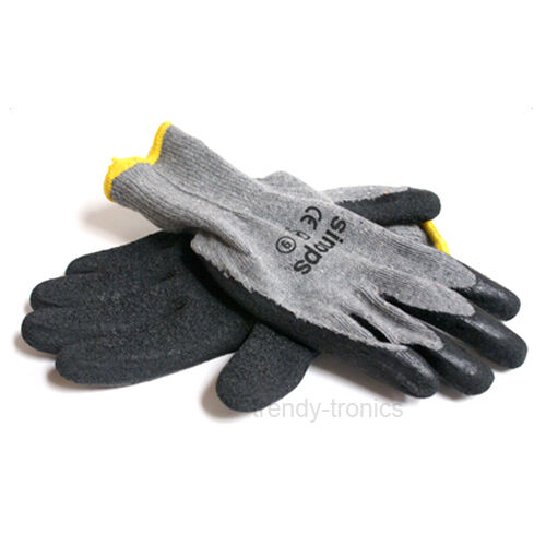1 x Pair Rubber Latex Black Gardening Garden Builders Work Gloves Size M