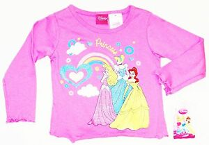 DISNEY PRINCESS Toddlers Sparkly Longsleeve Shirt Tee NWT Size 2T, 3T or 4T  $18