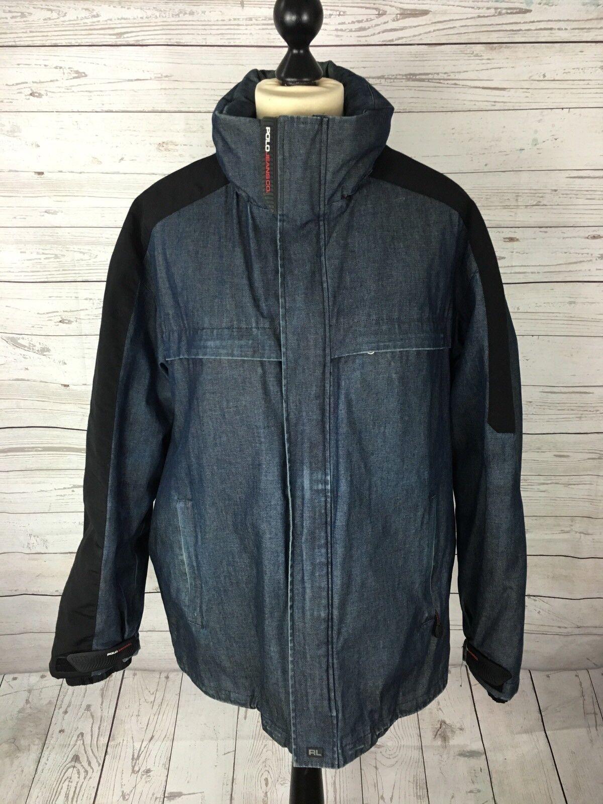 RALPH LAUREN POLO Denim Fleece Lined Quilted Coat - groß - Great Condition