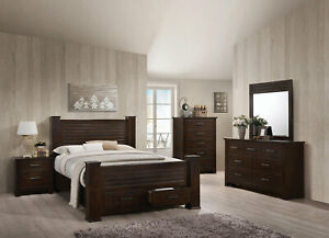 Transitional Mahogany Brown 5 Piece Bedroom Set W King Size