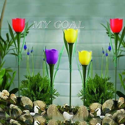 5X Outdoor Solar Powered LED Tulip Flower Stand Spike Garden Lights Yard Decor