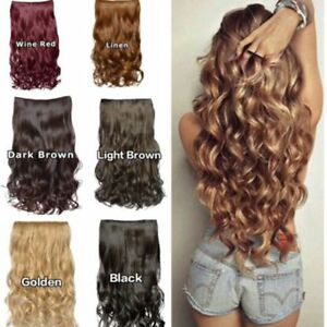 3-4Full-Head-Clip-In-Hair-Extend-Long-Curly-Wavy-Extensions-Piece-Heat-Resistant