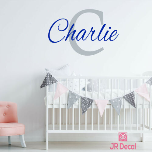 Baby Boy Personalised name sticker Kid wall art Custom Name initial Monogram