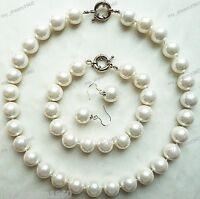 Genuine 14mm White South Sea Shell Pearl Necklace Hook Earring Bracelet Set