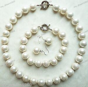 Genuine-14mm-White-South-Sea-Shell-Pearl-Necklace-Hook-Earring-Bracelet-Set
