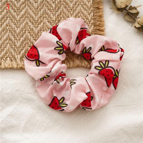 Summer Fruit Print Headband Girls Hair Tie Scrunchies Ponytail Hair Holder Rope