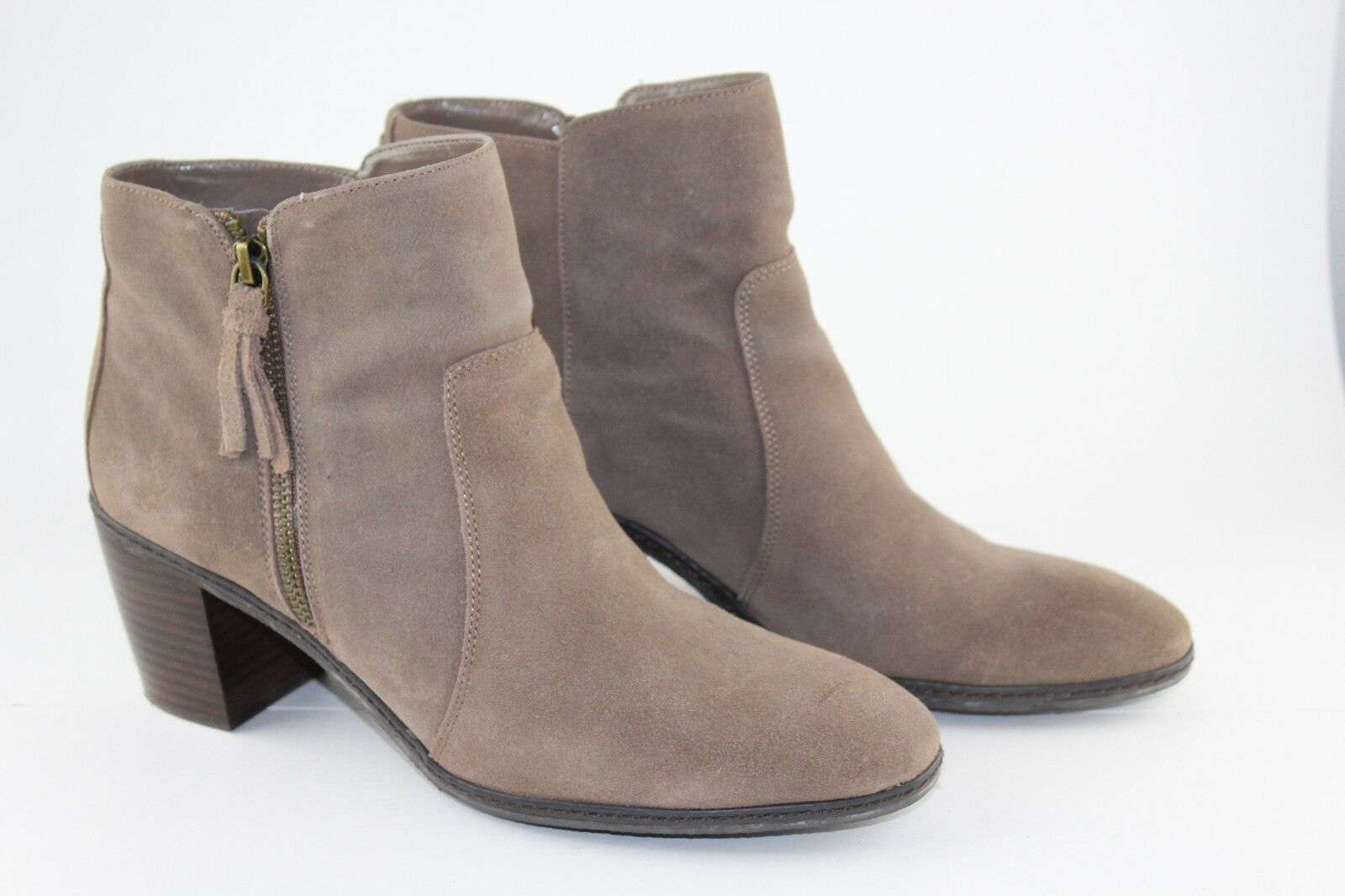 Anne Klein AK Bristle Womens Brown Suede Leather Ankle Boots Size 9M