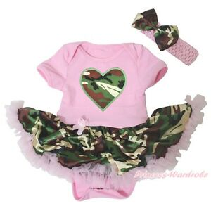 dc7b1ee3417a9 Details about Valentine Camo Heart Light Pink Bodysuit Camouflage Girls  Baby Dress Set NB-18M