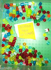 LEGO 150 Translucent 1x1 1x2 Red Green Blue Orange Yellow 50746 30008 6188 58176
