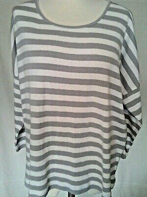 Adini viscose lycra tunic irregular striped fabric 3//4 sleeves v neck