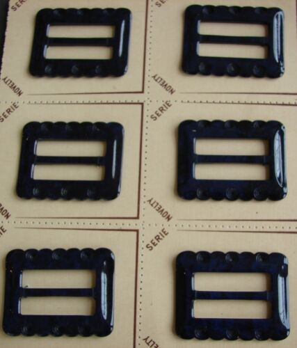 1950/'s Navy Blue Casein Buckle with carved edge design Vintage Buckles