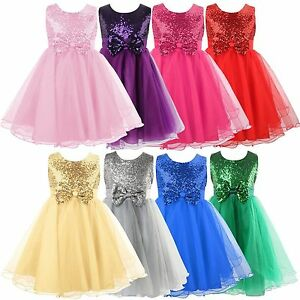 Girls Sequins Flower Dress Princess Wedding Bridesmaid Pageant Formal Party 2-8Y