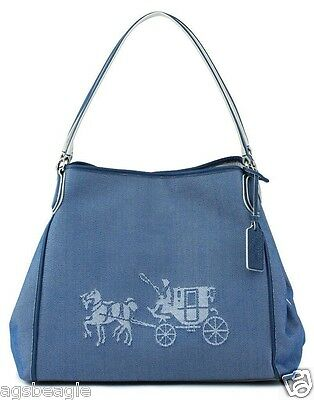 Coach Bag F35344 Horse and Carriage Edie Shoulder Bag in Denim Canvas Agsbeagle