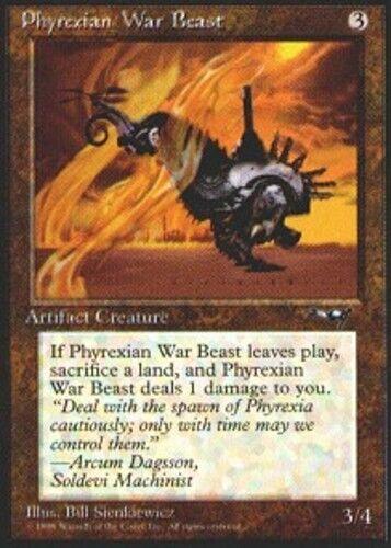 MTG All Art Version: SLIM PART FACING LEFT, WITH FLAMES 4x Phyrexian War Beast