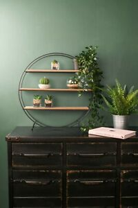 online store d907f 6f597 Details about Retro Industrial Style Circle Shelf Shelving Unit Metal Wood  Storage Vintage