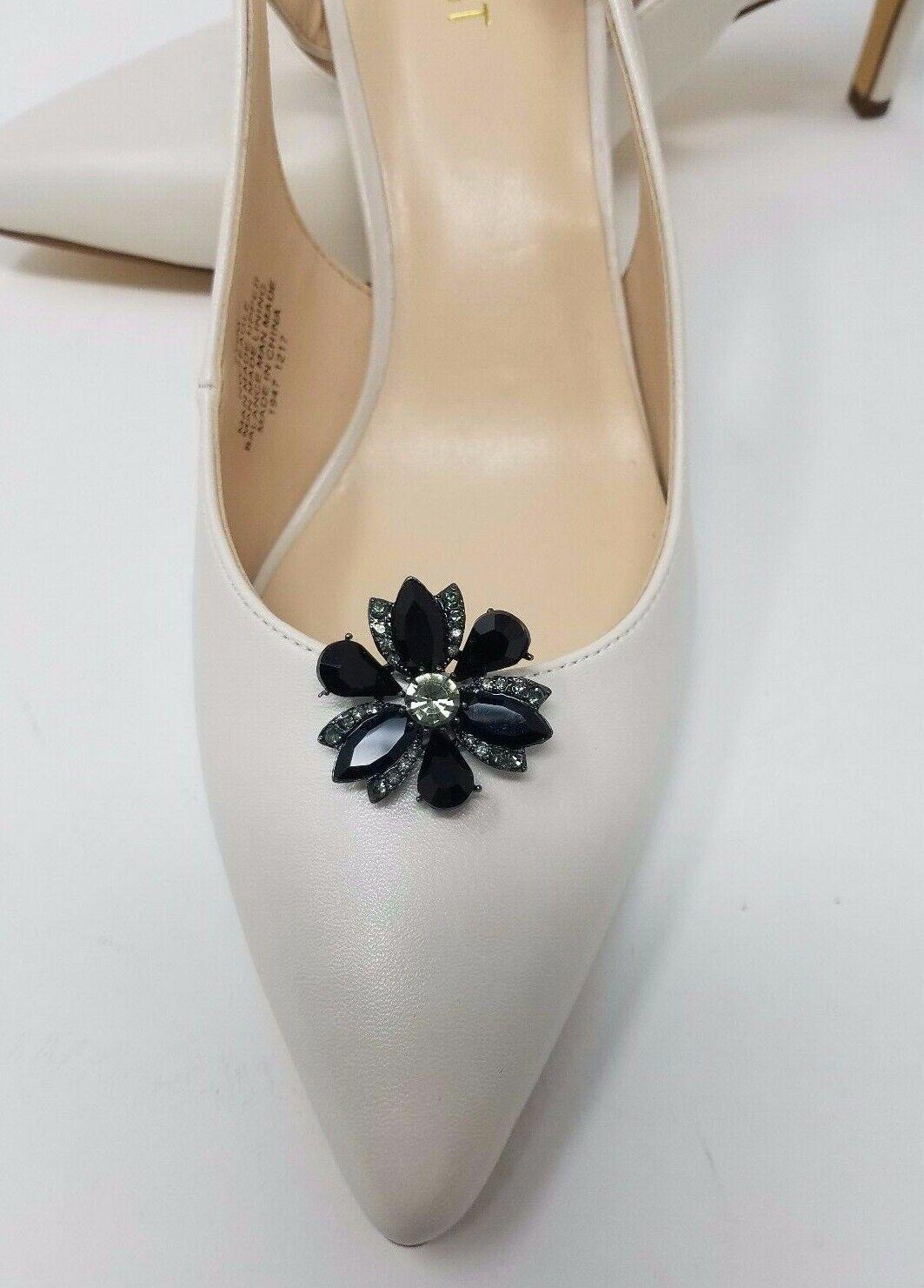 Flower Shoe Clips with Rhinestones 2pcs, Shoe Accessories