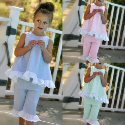 Summer  Kids Baby Girls Bow Vest Tops Shirt+Shorts Pants Clothes Outfits Suits