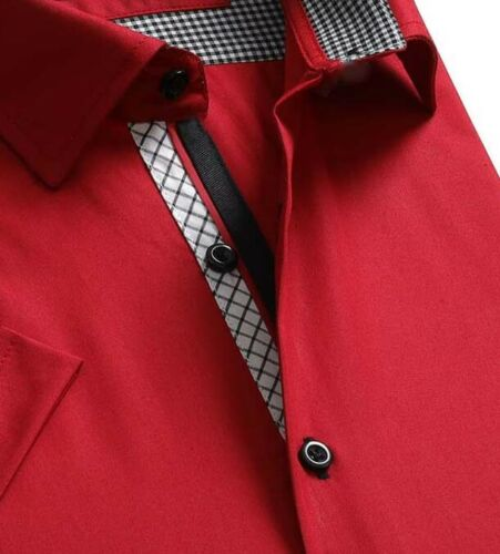 Details about  /Celino Solid Red Men/'s Slim Fit Short Sleeve Cotton Dress Shirt Made in Europe