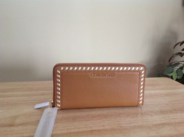 5dce88beecd Michael Kors Lauryn Travel Continental Zip Around Wallet Acorn Brown Gold  NWT