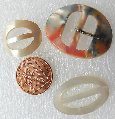 3 vintage oval buckles Real  and faux mother of pearl