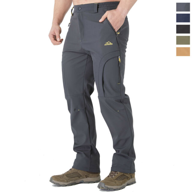TACASEN Mens Work Trousers Outdoor Waterproof Trousers Walking Hiking Trousers with Zipper Pocket