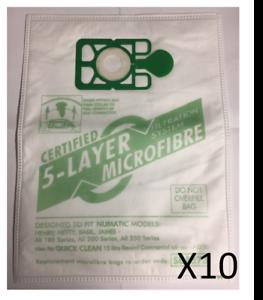 10 Sacchetti in microfibra per aspirapolvere per Numatic Henry Hoover HVR200A NVM1B /& NVM1C//2