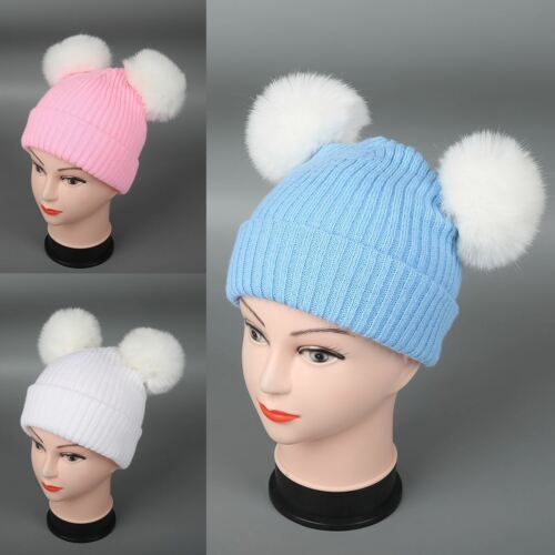 Winter Baby Toddler Knitted Hat Two Fur Pom Poms Boy Girls Fur Bobble Beanie Hat