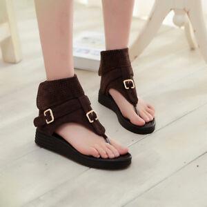 703b628f9f218 Image is loading Womens-Retro-Flat-Roman-Sandals-Suede-Tassel-Gladiator-