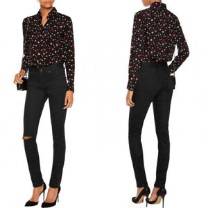 f4bc295c3a3 sz 26 NEW $650 SAINT LAURENT Women's SKINNY Black JAPAN DENIM RIPPED ...