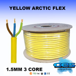 ARCTIC GRADE YELLOW 3183 FLEX CABLE 3 CORE 1.5MM OUTDOOR CAMPING CARAVAN EXT