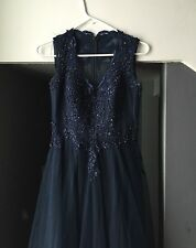 Beautiful JJsHouse Navy Blue Sleeveless Lace Prom Dress in Size 6