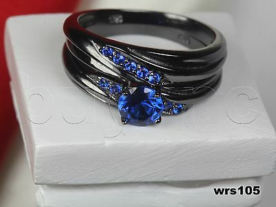 Ladies Blue Sapphire Black Rhodium Plated 925 Silver Engagement Wedding Ring Set