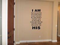 I Am His Wall Sticker Wall Art Decor Vinyl Decal Christian Wall Lettering