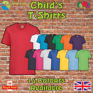 Kids-Plain-t-Shirts-fruit-of-The-Loom-Children-039-s-Youth-T-Shirts-Childs-Tee-Shirt