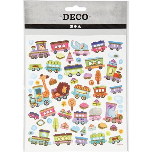 Train Animals Metallic Foil Colourful Glitter Stickers 15cm Embellishments Sheet