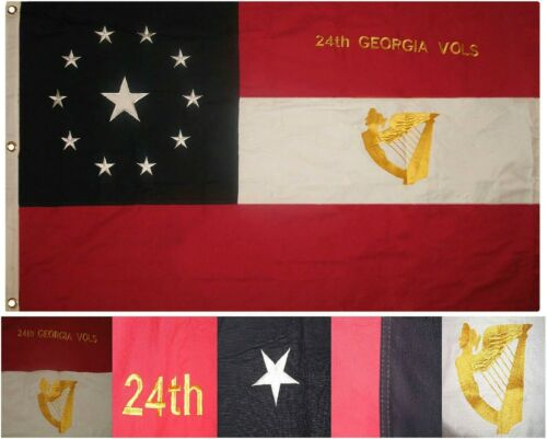 3x5 Embroidered Sewn 24th Georgia Volunteers Infantry 100/% Cotton Flag 3/'x5/'