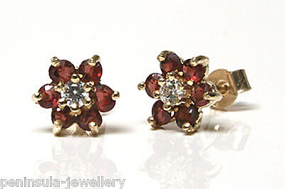 9ct Gold Sapphire and CZ Cluster Stud Earrings Gift Boxed studs Made in UK