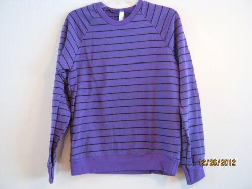 american apparel striped fleece raglan pullover purple blk strp xs